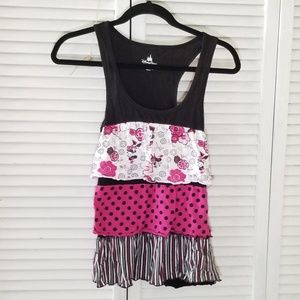 Disney Parks Black Ruffle Minnie Mouse Tank Top
